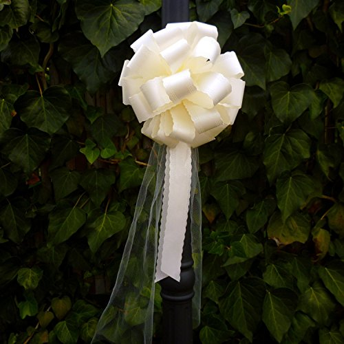 Ivory Lace Pull Bows with Tulle Tails - 8'' Wide, Set of 6 by GiftWrap Etc.