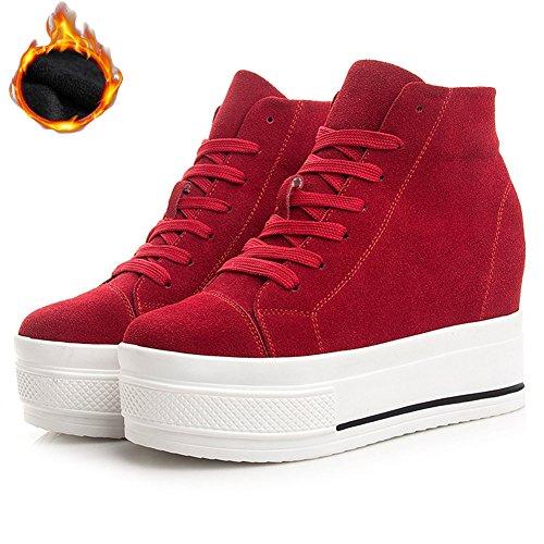 Btrada Womens High Top Casual Sneaker Lace-up Heel Aumentare Scarpe Da Passeggio Nascoste Scarpe Sneaker Scarpe Redr