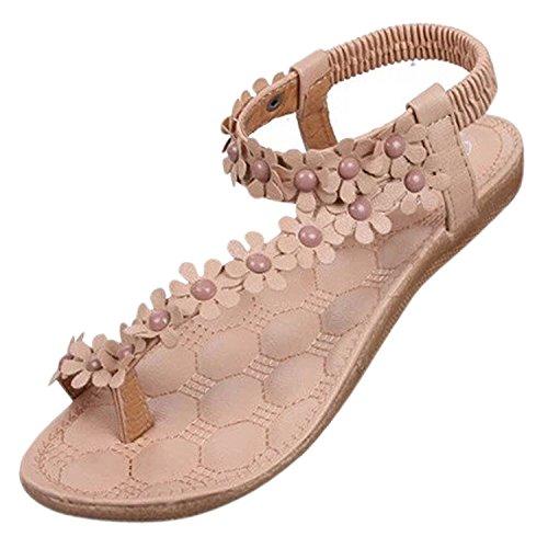 TOOGOO(R) Neue Flip-Flop Sandalen offene Zehe Flip Frauen Schuhe flache Schuhe Boehmen Blume Perlen weiche Aussensohle suess fuer Frauen 669 Beige US5 = EUR35 = Fuesse Laenge 22.5CM