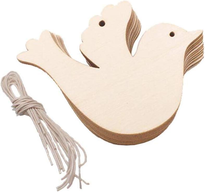 VOANZO 10 PCS Decorazione di Compleanno per Feste Pendenti a Forma di appesi Natalizi in Legno per Artigianato in Legno Fai da Te Decorazione Natalizia Uccellino