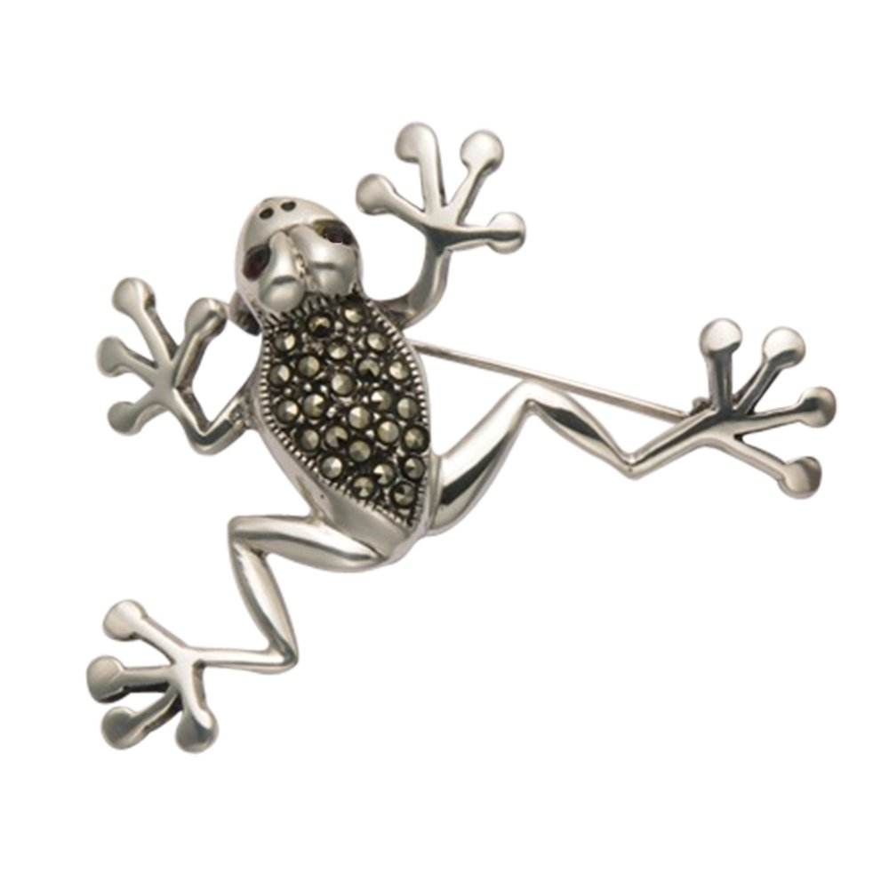 Sterling Silver & Marcasite Tree Frog Pin w/Faceted Red Crystal Eyes
