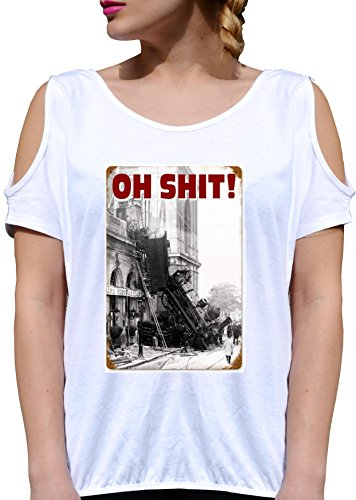 T SHIRT JODE GIRL GGG27 Z1280 OH SHIT CITY SKYSCRAPER VINTAGE AMERICA FUN FASHION COOL BIANCA - WHITE M