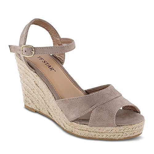 TF STAR Jute Rope Wedge Sandals for Women,Women Platform Summer Shoes Ankle Strap Espadrille Wedge Heel Sandals Beige