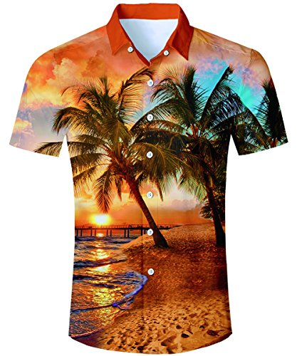 TUONROAD Youth Beach Theme Hawaiian Island Shirt Seawater Beach Palm Tree Bridge Vacation Prints Short Sleeve Shirt Holiday Tall Button Down Shirt Hawaiian Attire,Beach-O