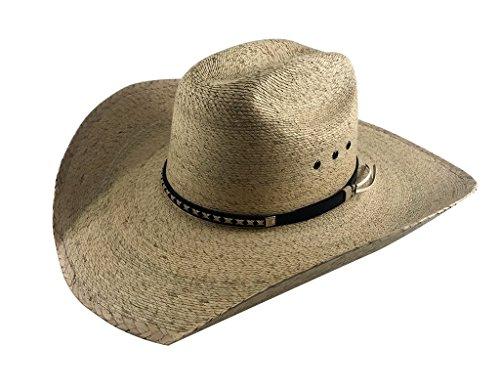 Large Cowboy Hat - Palmoro The Original Truman Cowboy Moreno Palm Straw Hat (2XL, Natural w/Synthetic Band)