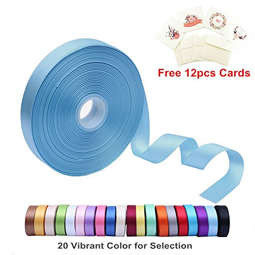 Ribbon Blue Mist (Double Face Satin Ribbon 1 Inch Wide x 100 Yard Roll (300 FT Spool) with Free 12 Greeting Cards for Art & Sewing, Party/Wedding Favor Ribbons, Blue Mist)