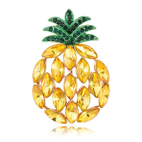 (SenFai 3-Tone Full Rhinestone Big Yellow Pineapple Fruite Brooch Pin (Rose Gold))