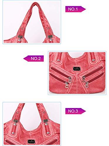 Shoulder Resistenti Rosso2 Borsa Handbag Capacità Leather Borse Smnyi Pu Semplice Leggero Tracolla Donna Moderni Fashion Bag A Grande Messenger Multitasche Urbanistic Tw1ORax