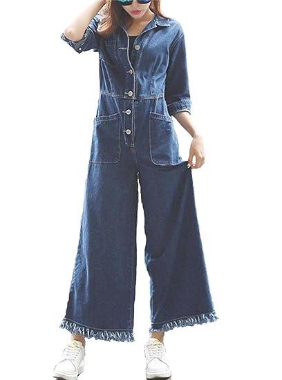 Amazoncom Klorim Women Juniors Long Sleeve Denim Jumpsuit Wide Leg