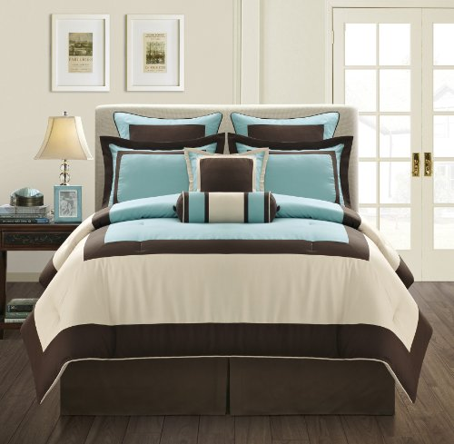 7 Piece GRAMERCY Color Block Bedding Choco Brown with Aqua Blue accents Comforter Set, Queen Size Bedding