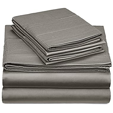 Pinzon 400-Thread-Count Pleated Hem Egyptian Cotton Sheet Set - Queen, Sterling
