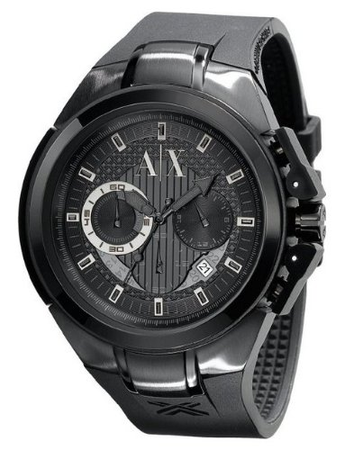 Armani Exchange Chronograph Black Rubber Mens Watch AX1050, Watch Central