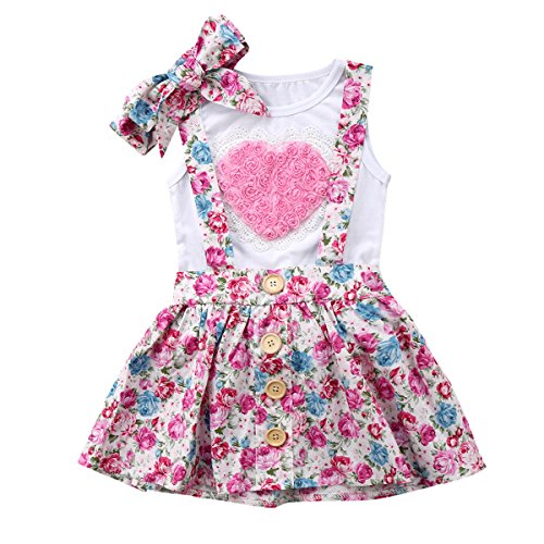 Haokaini Baby Girls Big Little Sisiter Family Matching Set, Vest Headband Floral Shorts/Suspender Skirt Outfits (Color : Big Sister, Size : 4-5T)