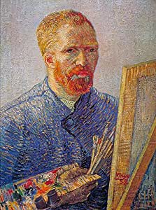 Gogh (Self Portrait at the Easel, c.1887/88) Canvas Art Print Reproduction (25.8x19.9 in) (66x51 cm)