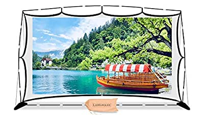 """Projector Screen - LisMarquee 150"""" Front/Rear Projection Indoor/Outdoor Home Theatre No-Wrinkle Portable Projector Screen with Stand and FITS INTO A Back Pack"""