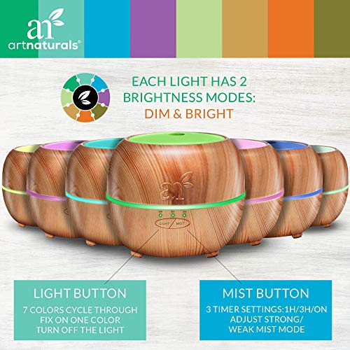 ArtNaturals Aromatherapy Diffuser Aroma Mist Mode, and Lights Office &