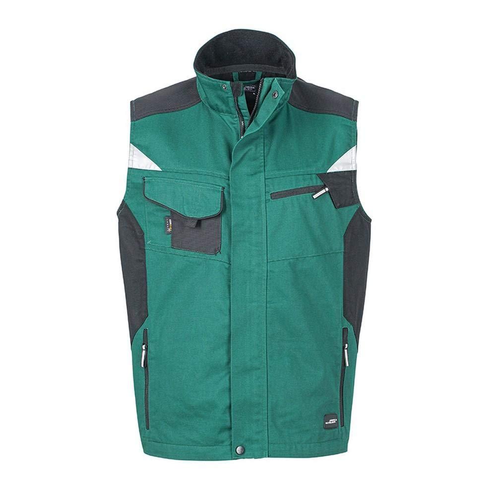 Dark Green Black James and Nicholson Unisex Workwear Vest