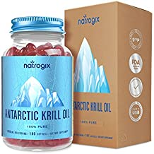 Antarctic Krill Oil 120 Softgels 1500mg/ Serving by Natrogix - Third Party Tested - 100% Pure Omega 3 Fatty Acids, EPA/DHA, Including Phospholipids and Astaxanthin (No Fishy Smell) w/ Free E-Book