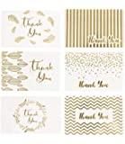 36 Gold Foil Thank You Card | 6 Assorted Designs Blank Inside | 4 x 6 inches, Bulk Note Cards with Envelopes and…