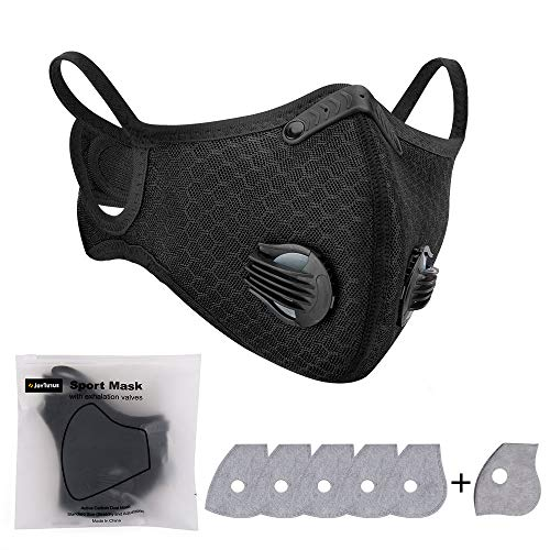 1 Pack Anti-pollution Cycling Face Cover with 6 Pack Activated Carbon Filters Dust Proof Washable Sports Outdoor Mouth…