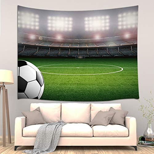 Soccer Theme Decor Tapestry, America Stadium Football Arena Sports Competition Profession Art Wall Hanging for Bedroom Living Room College Dorm, TV Backdrop Wall Blankets 60X40 Inches