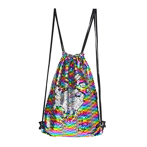(Flip Sparkly Sequin Backpack Drawstring Dance Bag for Girls/Women(Rainbow/Silver))
