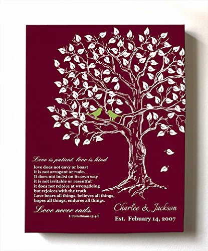 MuralMax - Personalized Anniversary Family Tree Artwork - Love is Patient Love is Kind Bible Verse - Unique Wedding & Housewarming Canvas Wall Decor Gifts - Color Cranberry - Size 16 x 20