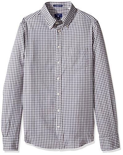 GANT Men's Windblown Oxford Mini Plaid Fitted Button Down Shirt, Charcoal Melange, Large ()