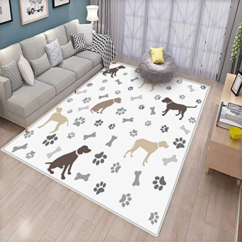- Dog Lover Bath Mat 3D Digital Printing Mat Paw Print Bones and Dog Silhouettes American Foxhound Breed Playful Pattern Door Mat Increase Umber Beige Grey