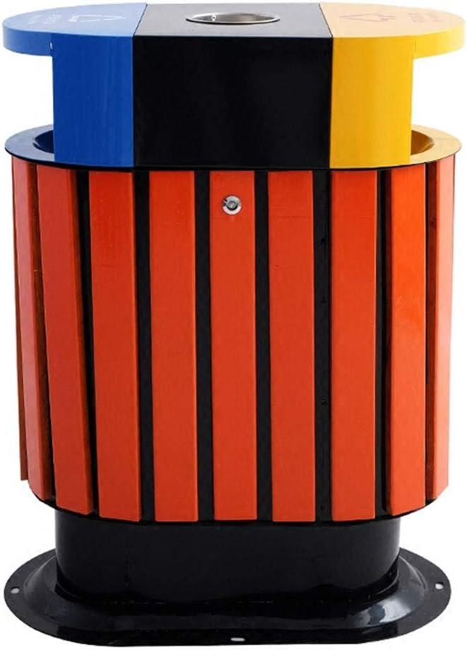 Cubos de Basura para Exterior Interior Hogar Bote de Basura con Forma de Barril de Metal Reciclaje de contenedores de Almacenamiento Papeleras Grandes al Aire Libre Restaurante Cocina Industria Cubos