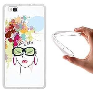 Funda Huawei P8 Lite, WoowCase [ Huawei P8 Lite ] Funda Silicona Gel Flexible Acuarela - Mujer Fashion, Carcasa Case TPU Silicona - Transparente
