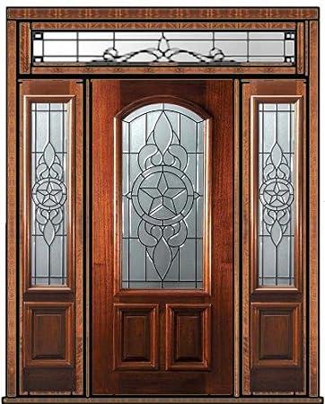 Prehung Sidelights-Transom Door 80 Wood Mahogany Brazos Arch Lite [6[2 & Prehung Sidelights-Transom Door 80 Wood Mahogany Brazos Arch Lite ... pezcame.com