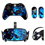 MightySkins Protective Vinyl Skin Decal for Oculus Rift CV1 wrap cover sticker skins Blue Flames