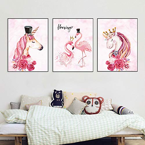 Unicorn Wall Posters,3 PCS Unicorn Flamingos Art Print (8