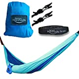 Smart Hammocks – Camping Hammock Plus Double Hanging Suspension Tree Straps and Carabiners – Portable Parachute Folding Light Weight Gear – Great for Hiking Backpacking Kayaking Indoor and Outdoor