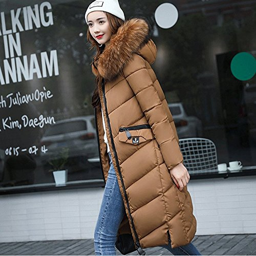 Hat DYF L Medium Color Caramel Zipper Coat Long Jacket length Thickened sleeve Down Pocket Cqww4Xa