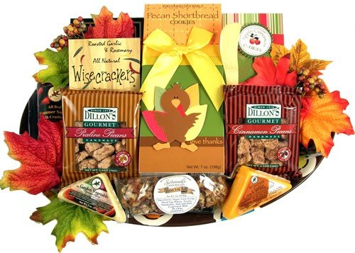 Tom Turkey Gourmet Fall Thanksgiving Gift Basket with Platter