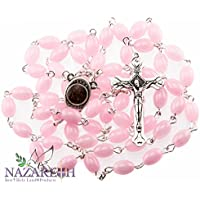 Beautiful Catholic Light Pink Color Glass Beads Rosary with Metal Crucifix from Jerusalem