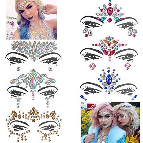 Inifty 6 Sets Women Rhinestone Mermaid Face & Breast Jewels Tattoos, Body Sticker Crystal Tears Gem Stones Bindi Temporary Stickers (Style 2) ()