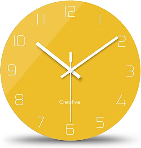 FlorLife Modern Wall Clocks Vintage Style Round Glass Wall Clock, Wall Decor Clocks for Kitchen, Office, Retro Hanging Clock, Home Decor Accessories 12 Inch – Yellow