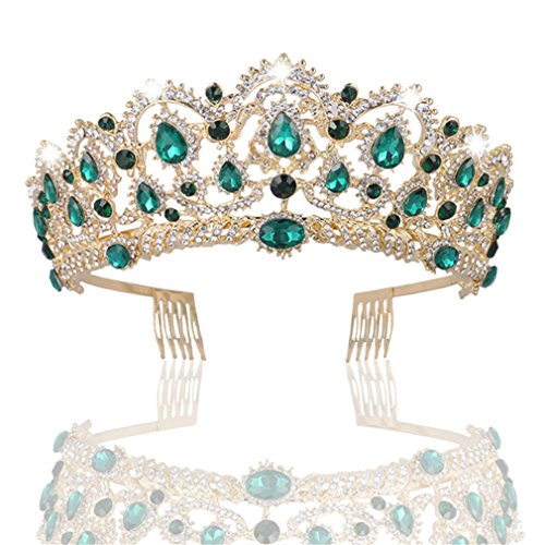 MACOIOR Crowns Tiaras for Women, Baroque Royal Prom Queen Crown Rhinestone Crystal Bridal Crowns Tiaras with Comb Pageant Crowns Princess ()
