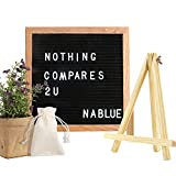 NABLUE Felt Letter Board - 10 x 10 Premium Solid Oak Framed Changeable Letter Board With 290 ¾ Inch White Letters,Retro Desktop Display;Changeable Modern Square Letter Board (Free Canvas Bag)