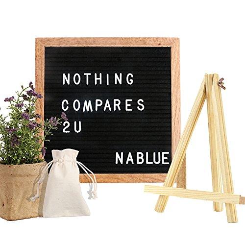 (NABLUE Felt Letter Board - 10 x 10 Premium Solid Oak Framed Changeable Letter Board With 290 ¾ Inch White Letters,Retro Desktop Display;Changeable Modern Square Letter Board (Free Canvas Bag))