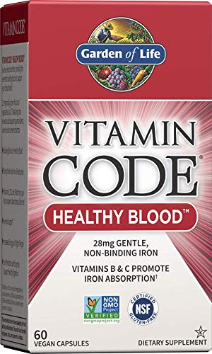 Garden of Life Vitamin Code Iron Supplement, Healthy Blood – 60 Vegan Capsules, 28g Iron, Vitamins B, C, Trace Minerals…