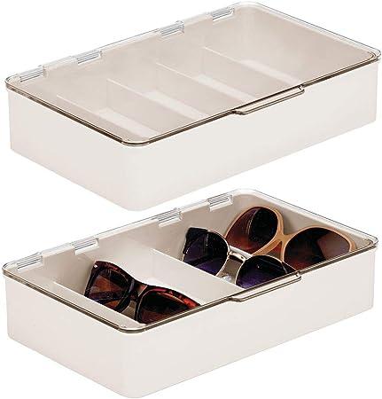 mDesign Juego de 2 cajas para gafas de sol – Clasificador de plástico con 5 compartimentos – Organizador de armarios para guardar todo tipo de gafas – crema y transparente: Amazon.es: Hogar