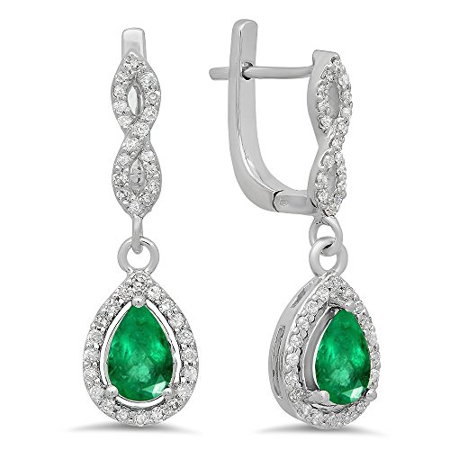 Dazzlingrock Collection 14K Pear Emerald & Round White Diamond Ladies Halo Style Dangling Drop Earrings, White Gold ()