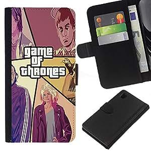 LECELL--Cuero de la tarjeta la carpeta del tirón Smartphone Slots Protección Holder For Sony Xperia Z1 L39 -- Juego De Throns --