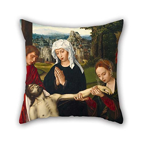 Oil Painting Ambrosius Benson - Piet?? at The Foot of The Cross Pillow Cases 16 X 16 inches / 40 by 40 cm Gift Or Decor for Outdoor Gril Friend -