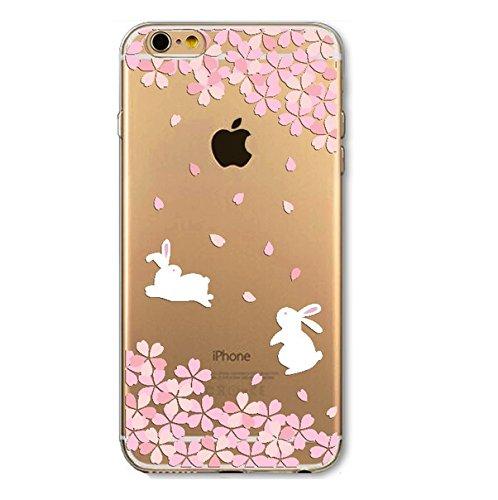 Coque silicone Iphone 5 et 5s , lapin blanc , white rabbit , fleur , rose