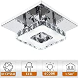 YISUN Modern LED Ceiling Lights Crystal Flush 12W 6000K Cold White Mini Chandelier Lighting for Bedroom, Living Room and Hallwa